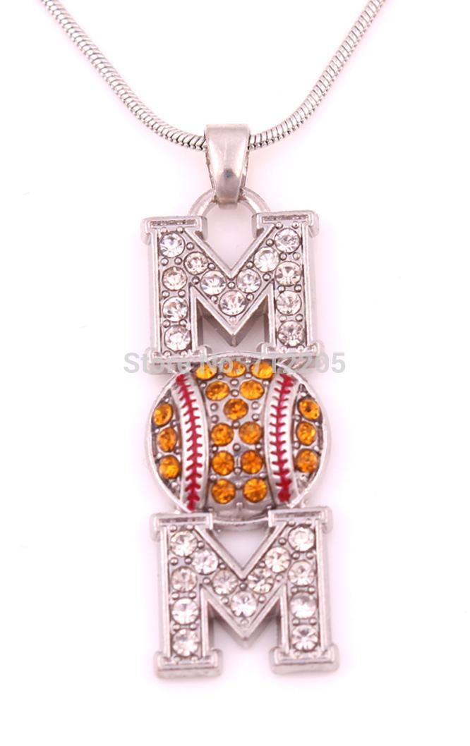 Новое прибытие Бесплатная доставка 30 шт. много цинка шипованных с сверкающими кристаллами софтбол мама проложить Кристалл кулон ожерелье цепь