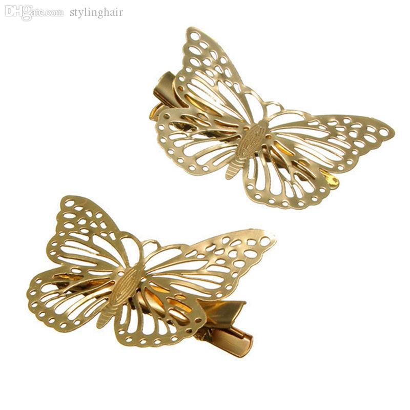 Wholesale-2pcs Gold Hollow Butterfly Bridal Hair Pins Clip Headpiece Barrettes For Women Girls
