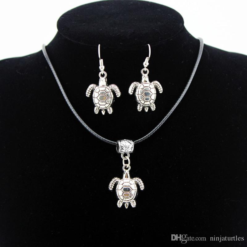 12sets all'ingrosso della ragazza di modo delle donne tribale stile vintage argento carino tartarughe marine ciondolo collana orecchini gancio set di gioielli regalo TZ20