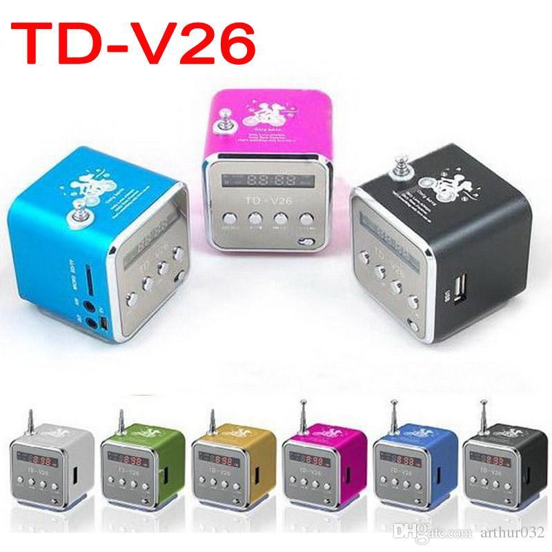 TD-V26 Mini Speaker Portable FM Radio Mic SD//TF USB MP3 LED Digital Music Player