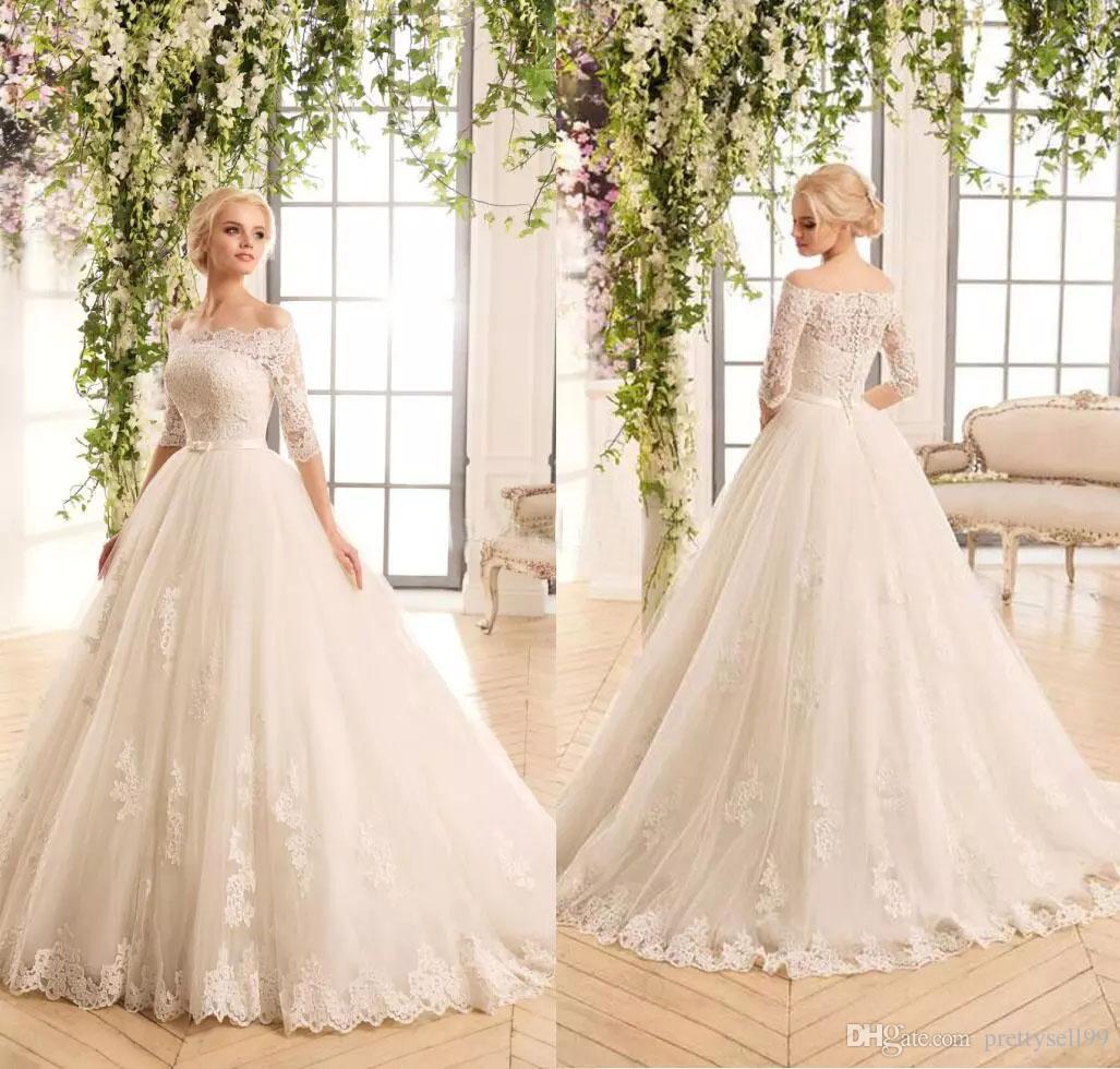 Половина длинные рукава кружева аппликации свадебные платья с поясом Бато шеи развертки поезд тюль свадебные платья