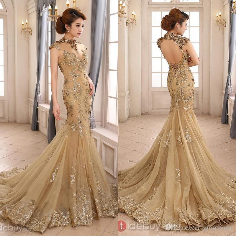 2017 Backless High Neck With Capped Short Sleeves Champagne Long ...