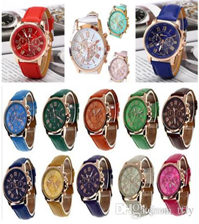 14Color regalo de Navidad Moda de lujo Ginebra relojes Números romanos Reloj Muñeca Piel sintética Colorido Caramelo Lindo cuarzo Muñeca exquisita DHL