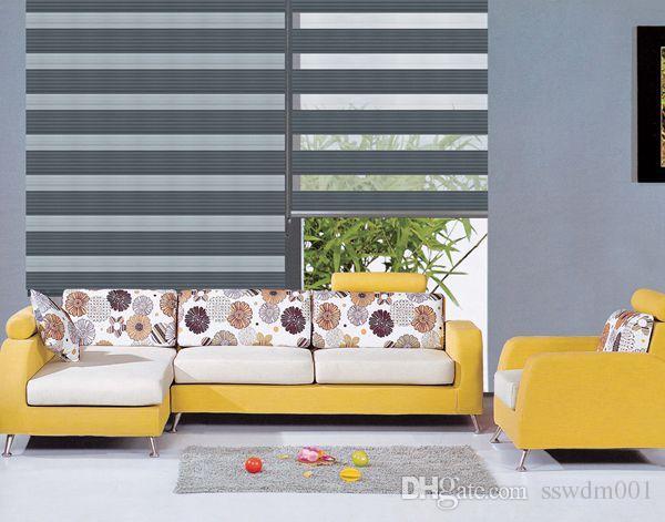 Özel Yapılmış Lüks Saydam Rulo Zebra Güneşlikler Lacivert Kat Perdeleri Oturma Odası 4 Renkler için Mevcuttur
