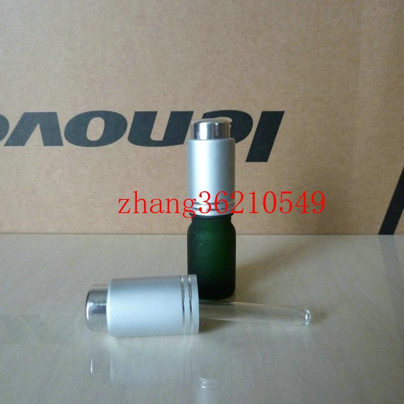 5ml 녹색 젖빛 유리 에센셜 오일 병 알루미늄 프레스 매트 실버 스포이드 캡. 에센셜 오일 포장