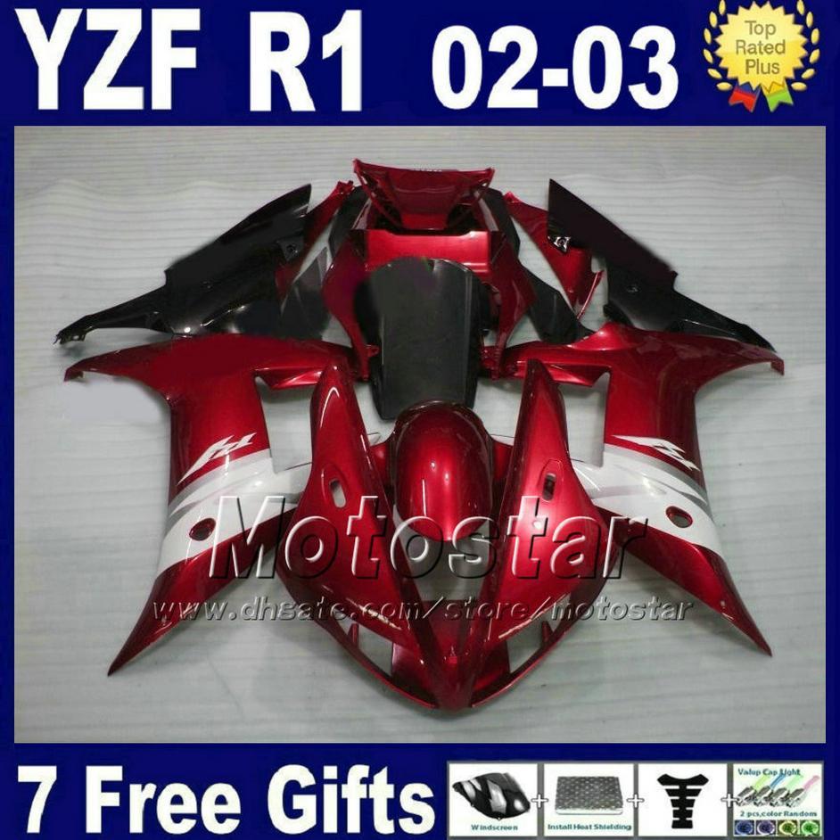 العرف الأحمر الداكن عدة لعام 2002 2003 ياماها R1 هدية طقم حقن مصبوب 02 03 yzf r1 fairings أجزاء أجزاء بلاستيكية + 7 هدايا