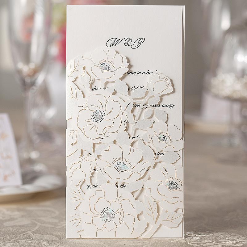 Laser Cut 3D Premium Flower Wedding Invitation Card Flowers Hollow ...