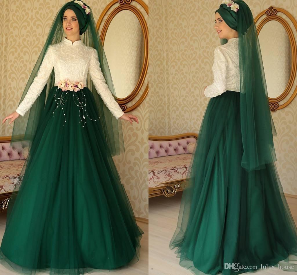 2017 Plus Size Muslim Wedding Dresses High Neck Long Sleeve Vintage Tulle Pearls Floor Length Zipper back Applique Sash Flower Bridal Gowns