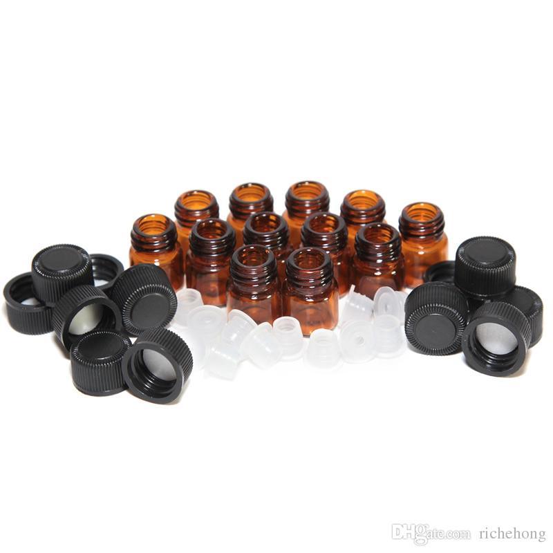 1 ml (1/4 dram) Botella de aceite esencial de vidrio ámbar Tubos de muestra de perfume Botella con tapón y tapas 5/8 dram