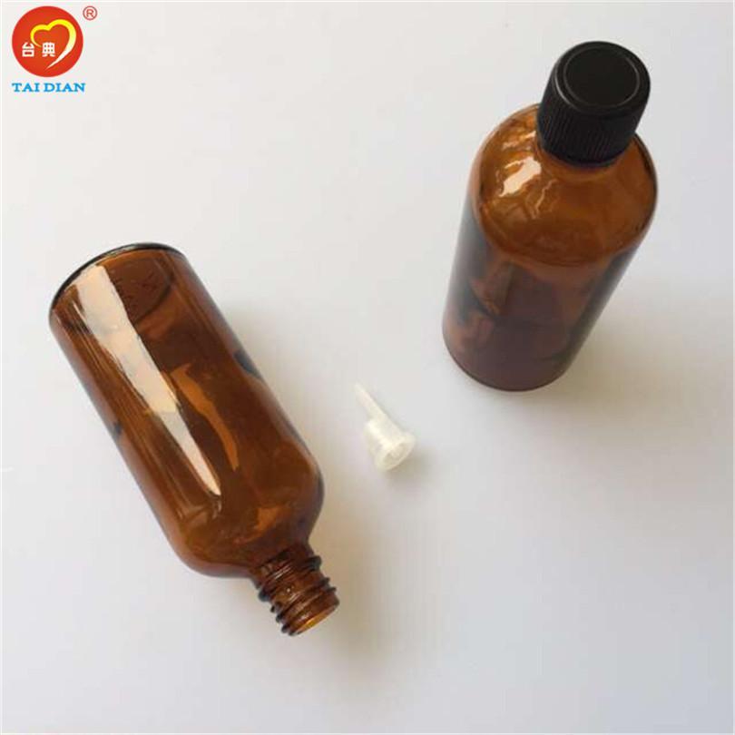Wholesale- 100ml Amber Large Glass Bottles with Leakage-proof Stopper Lid Liquid Jars Essential Oil Bottles 12pcs/lot
