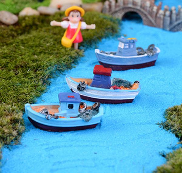 3 pz stile Mediterraneo barca carino Yacht mestieri della resina fairy garden miniature gnome Micro paesaggio decor bonsai per la decorazione domestica