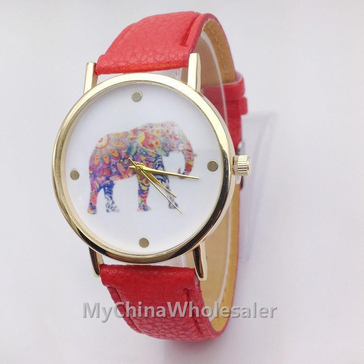 2015 여성 코끼리 디자인 꽃 인쇄 숙녀 가죽 코끼리와 푸 손목 시계 패션 드레스 석영 시계를