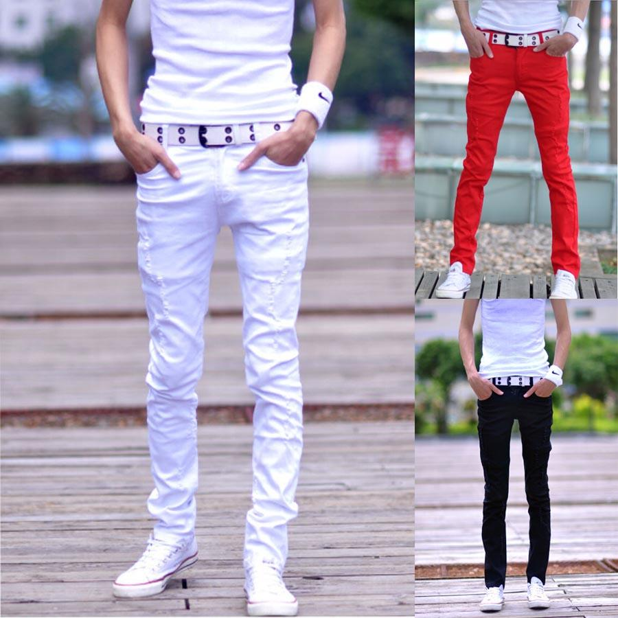 Toptan 7 Renkler Distrressed Mens Casual Denim Pantolon Boyutu 27-34 Slim Fit Moda Pamuk Bermuda Kot Masculina Beyaz Sıska Erkekler Kot