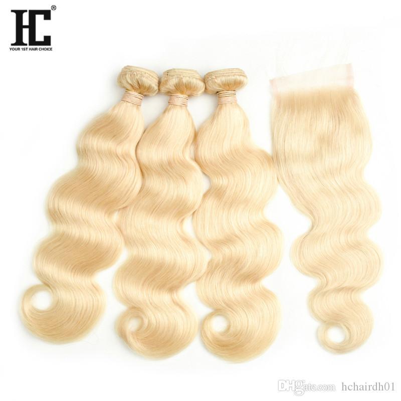 인기 판매 # 613 금발의 인간의 머리카락 묶기 레이스 폐쇄 8A 밍크 브라질 머리카락 3 묶음 레이스 Cloaure와 바디 웨이브 묶음