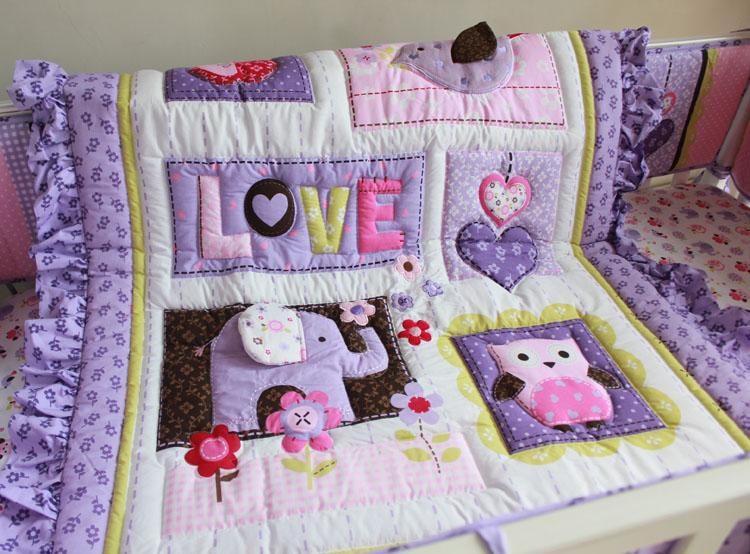 8Pcs Baby bedding set Purple 3D Embroidery elephant owl Baby crib bedding set 100% cotton include Quilt Bumper Bed Skirt etc Cot bedding