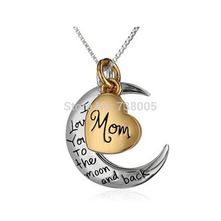 2015 أزياء أنا أحبك إلى القمر والعودة قلادة ، قطعتين قلادة القمر أمي قلادة هدية عيد الأم المجوهرات بالجملة