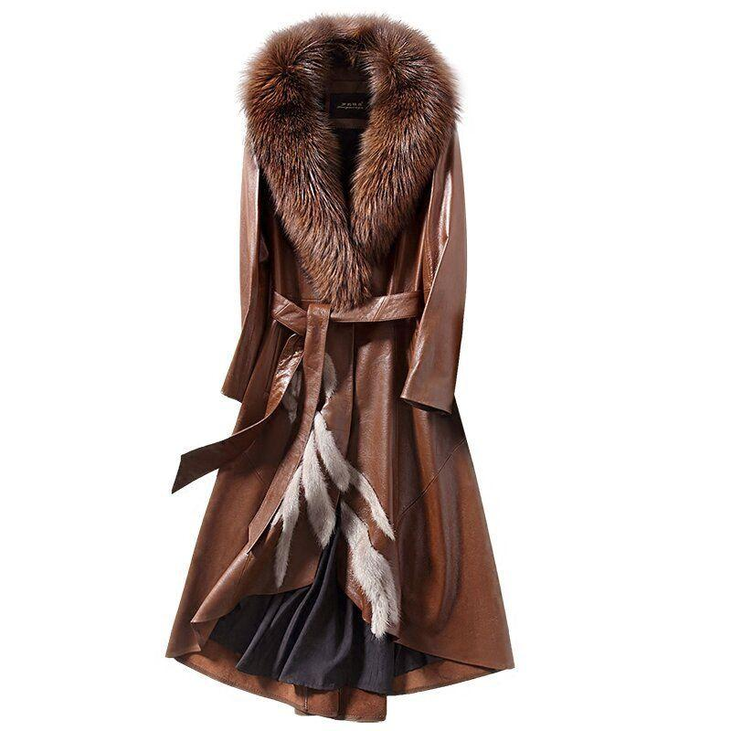 Women Real Sheepskin Long Leather Coat with Real Fox Fur Collar F0271 Sheepskin Coat Women 3 Colors