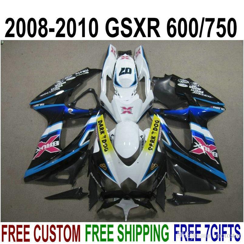 ABS полный обтекатель комплект для SUZUKI GSXR750 GSXR600 2008-2010 K8 K9 белый черный темная собака обтекатели набор GSXR600/750 08 09 10 KS75