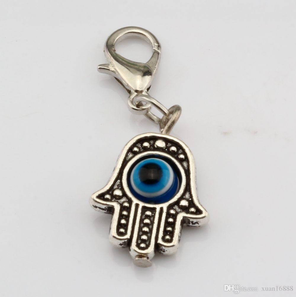 Caldo ! 100PCS Antique Silve di Hamsa dell'occhio diabolico della mano di Kabbalah Good Luck Charms con il catenaccio di fascino misura il braccialetto Gioielli fai da te 13x32.5mm