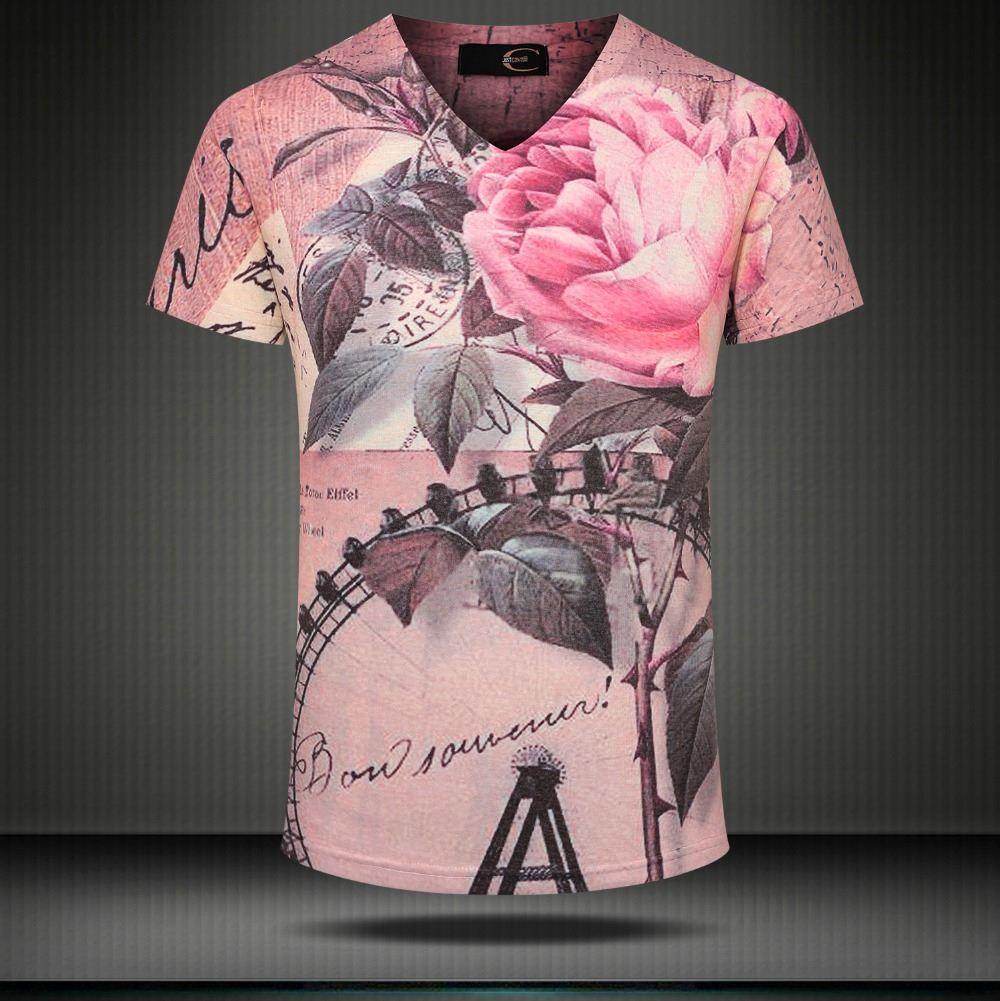 W1209 2015 nouvel été vintage à manches courtes col v 3d t shirt hommes marque casual punk imprimé floral en coton tops t-shirts pour hommes