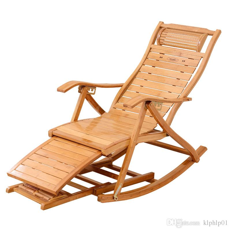 Modern Foldadble Bamboo Rocking Chair Recliner With Ottoman Indoor Outdoor Lounge Deck Furniture Reclining Rocker Chaise
