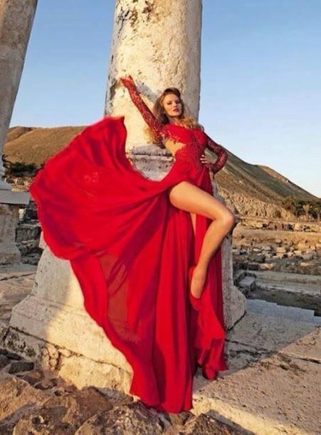 Мода Красный кружева платья выпускного вечера с длинными рукавами V шеи шифон сексуальная сторона Ил вечернее платье женщины платье партии платья