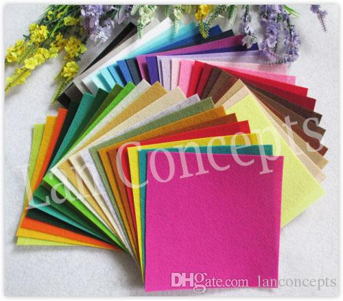 Colorful Polyester Felt Sheets Fabric Nonwoven Sheet for DIY Craft Work 42 Colors - 150x150x1mm 168 sheets/lot wholesale free shipping