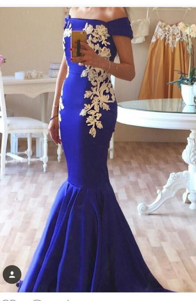 2018 Королевский синий Русалка вечерние платья элегантный Атлас с плеча длинные вечерние платья с коротким рукавом Белый аппликации