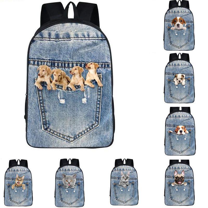Gençler için karikatür Hayvan Sırt Çantaları Kız erkek Sevimli Kedi Köpek Baskı Çocuk Okul Çantaları Sırt Çantası Çocuklar Rahat Seyahat Sırt Çantası