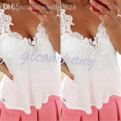 도매 섹시한 쉬폰 민소매 캐주얼 여자 여름 레이스 끈 블라우스 T 셔츠는 영국 탑