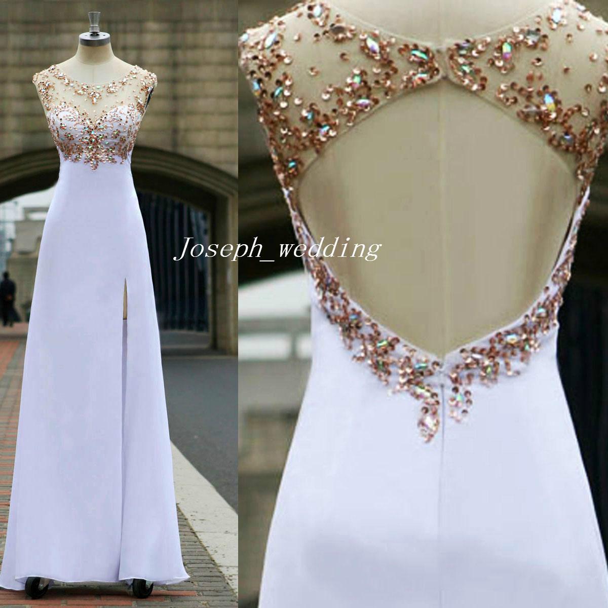 Envío gratis vestido de fiesta 2017 perlas cristales corpiño escarpado espalda abierta lentejuelas largas hendidura lateral gasa vestido de fiesta por la noche WH487