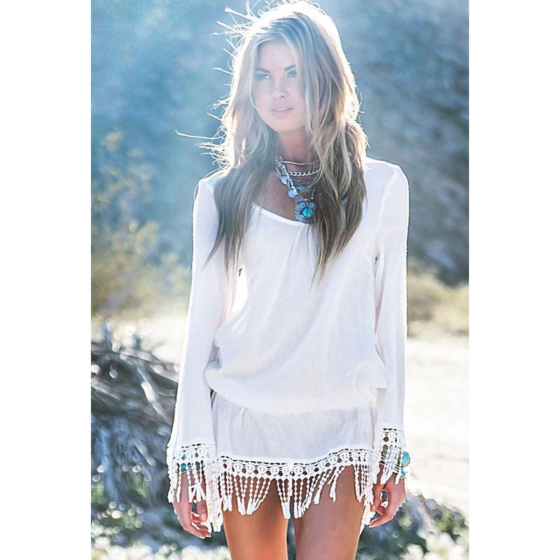 Mode lange mouwen witte miniskirt kwast kanten badmode coverup vestidos de playa badpak cover ups