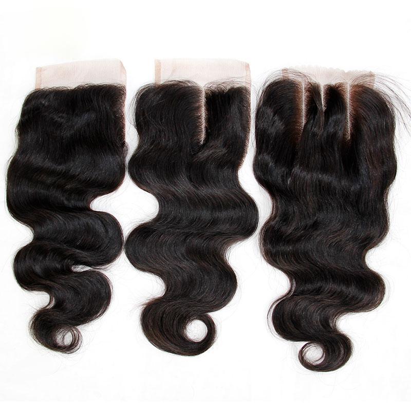 7A дешевые кружева закрытия 4x4 малайзийский девственница тела волна человеческих волос ТОП кружева закрытия штук бесплатно / средний / 3 Способ часть естественный цвет Dyable