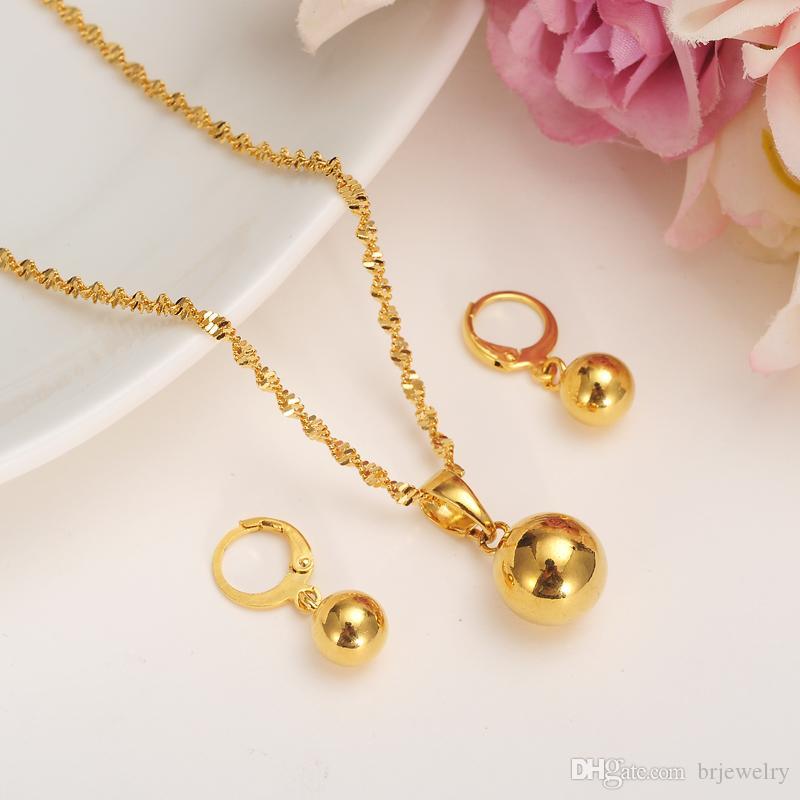 ubai الذهب اللون الكرة المجوهرات مجموعة قلادة قلادة الكفة سوار الإسورة أقراط الخرز الأفريقي مجموعات مجوهرات للنساء