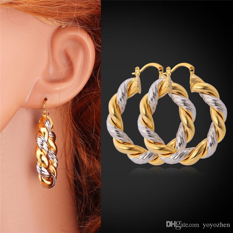 Orecchini a cerchio in oro 18 carati / orecchini placcati platino bicolore Orecchini a cerchio con mogli da pallacanestro per ragazze