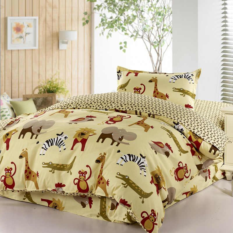 Cartoon Animal Zoo Active Printed Bedding Bedspreads 100% Cotton With Twin  Duvet Cover Flat Sheet ...