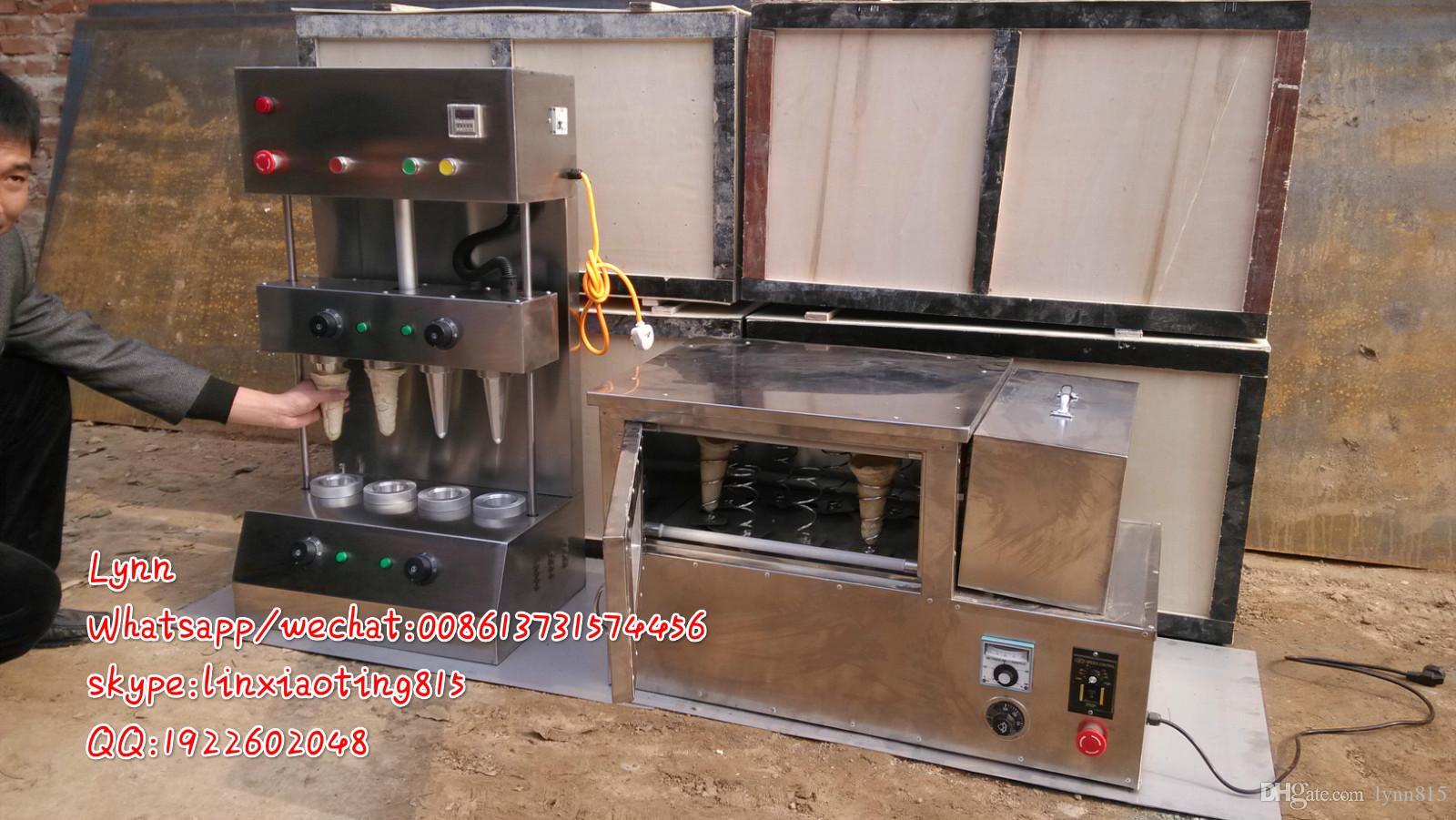 2015 Yeni Tasarım Sıcak Satış Kaliteli Paslanmaz Çelik Elektrikli Otomatik 4 Koni Pizza Yapma Makinesi ve Döner Pizza Fırın Makinesi