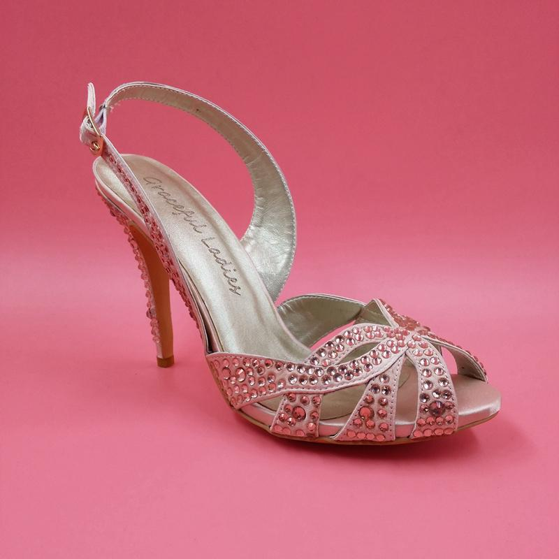 Blush Pink Rhinestones Wedding Shoes Sandal For Women Made To Order Bridal High Heel Open Toe Ladies 2018 From