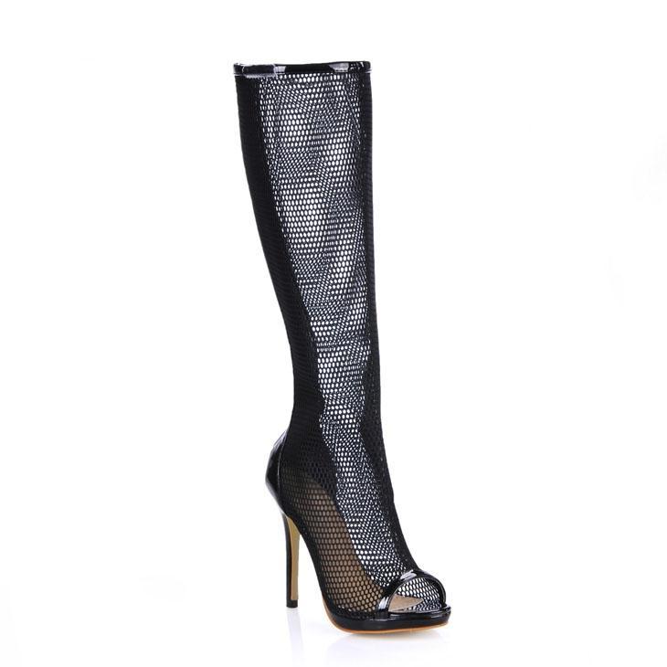 2016 블랙 여성 부츠 저렴 한 겸손 여자 파티 부팅 높은 얇은 발 뒤꿈치 발가락 패션 프로 댄스 신발 뜨거운 판매 저렴한 모데스트