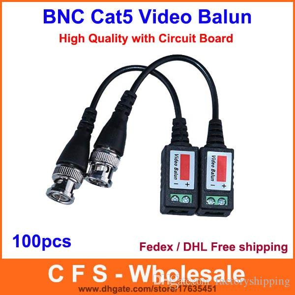 1 قناة السلبي فيديو balun الإرسال والاستقبال bnc cctv موصل cat5 كابل فيديكس / dhl شحن مجاني جودة عالية 100 قطع
