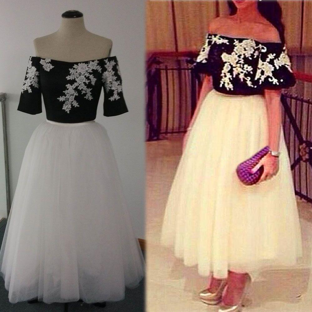 Set de dos piezas 2015 Vestidos de fiesta sexy En blanco y negro Una línea Fuera del hombro Bordado Encaje Tulle Falda Longitud del tobillo Vestidos de baile Imágenes reales