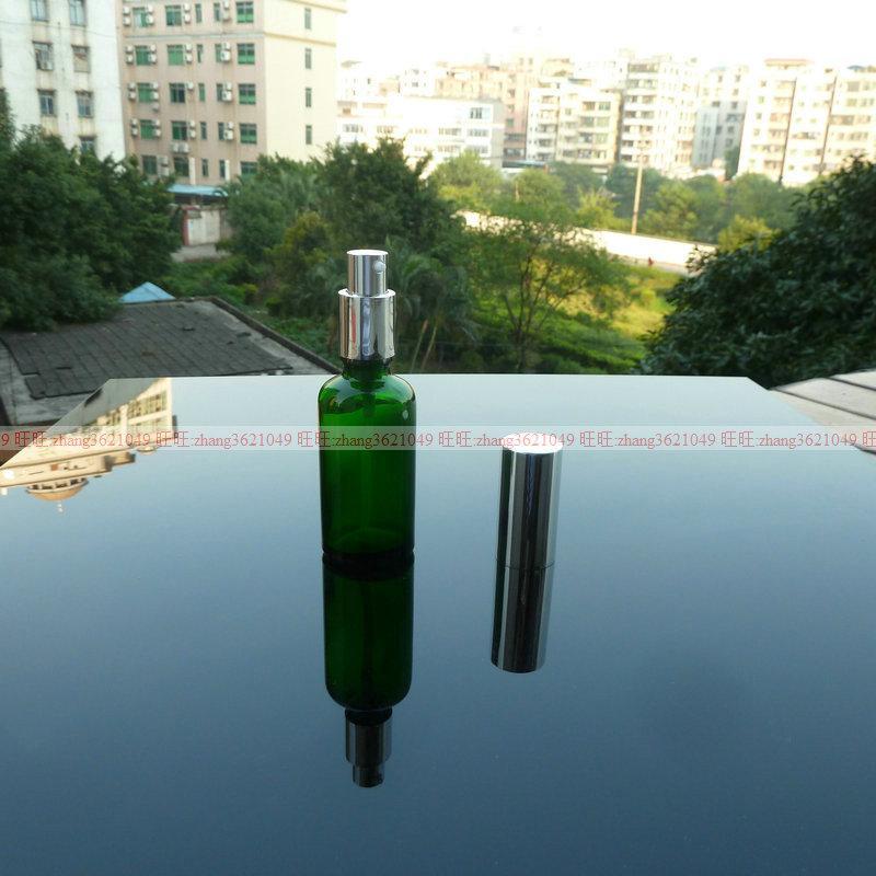 50ml 녹색 유리 로션 병 알루미늄 반짝 이는 실버 pump.for 로션과 에센셜 오일. 로션 용기