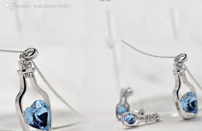 All'ingrosso-alta qualità di alta qualità più basse da donna donna moda popolare collana di cristallo amore drift bottiglie vendita calda collarire collier gioielli