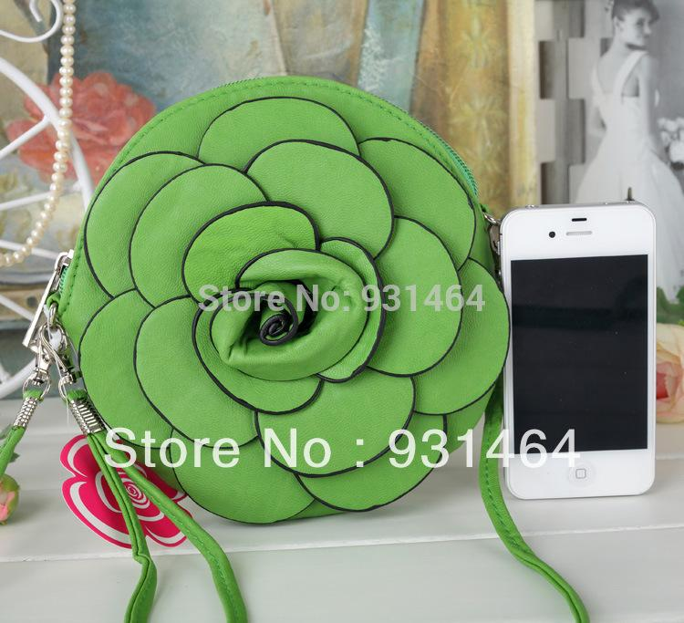 Pocket Fashion Small Leather Rose Flower Bag Green