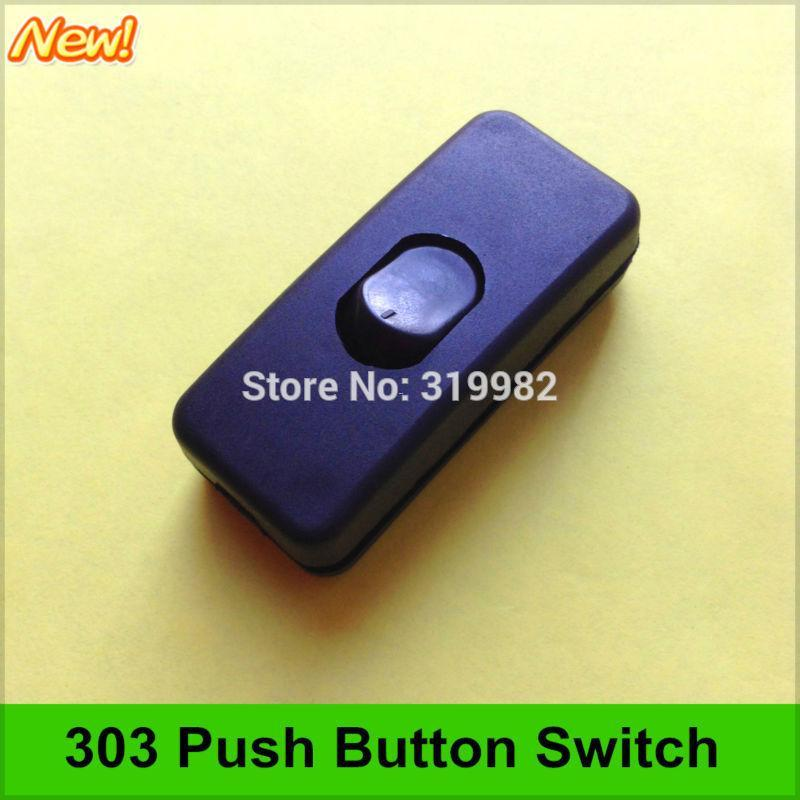 50 pçs / lote 303 botão interruptor de circuito de cabo de alimentação midway interruptor preto interruptor da lâmpada led interruptor diy universal