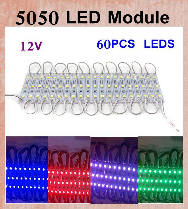 5050 LED Modules 20 pcs/set DC 12V SMD 3 LED Module 60PCS leds rgb led module Waterproof IP65 led display module vs led module p10 DT015