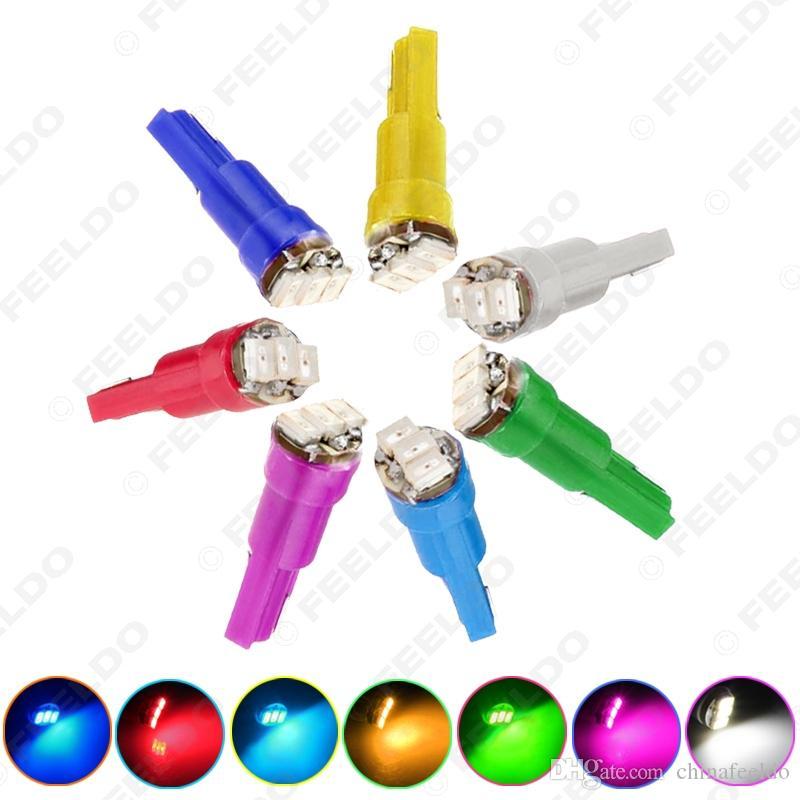 Оптовая продажа 50 шт. 7-цветная T5 1206 3-SMD 0.1W Приборная панель автомобиля Датчик боковой светодиодные лампы Лампа DC 12V # 1455