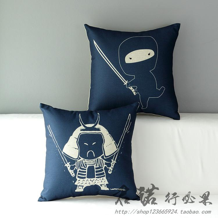 Ninja sofa cushion for leaning on of cotton and linen pillow pillows on the car set of cute cartoon blue gifts for children
