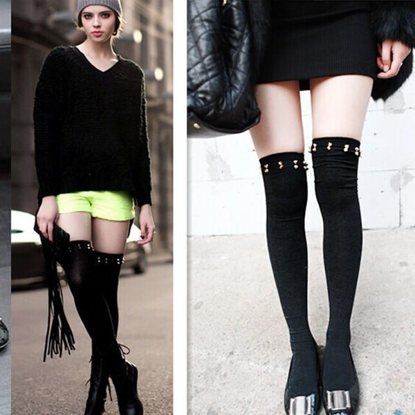 Diz Üzerinde Çorap Seksi Kadın Çorap Blend Bayanlar Perçin Kız Tatlı Çorap Ile Bayanlar Uyluk Yüksek Pamuklu Çorap Tiner BZ852642