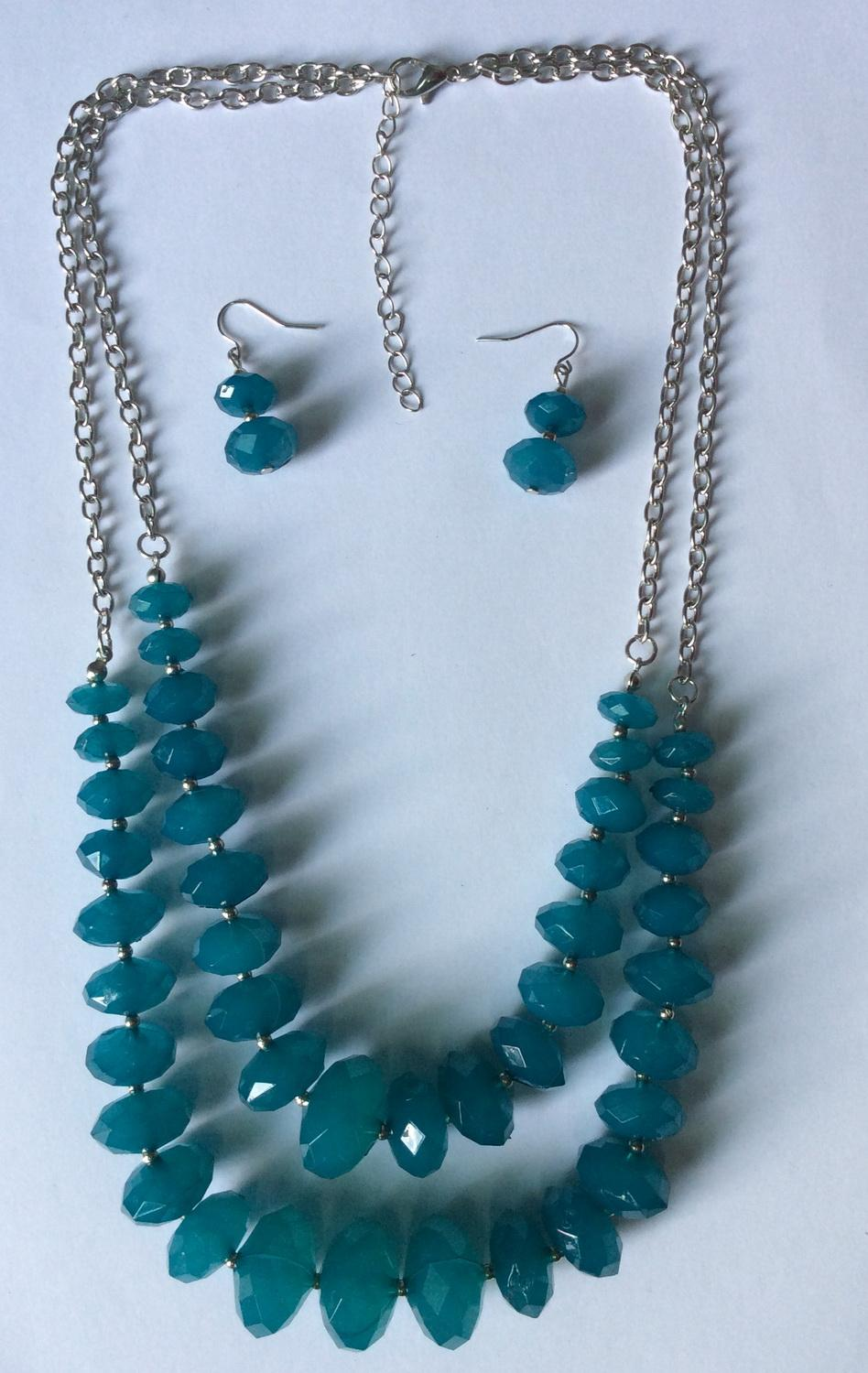 New two rows faceted milky acrylic beads necklace and earring set